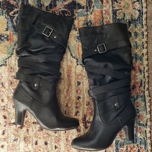 Shoes - Black Heel Buckle Boots